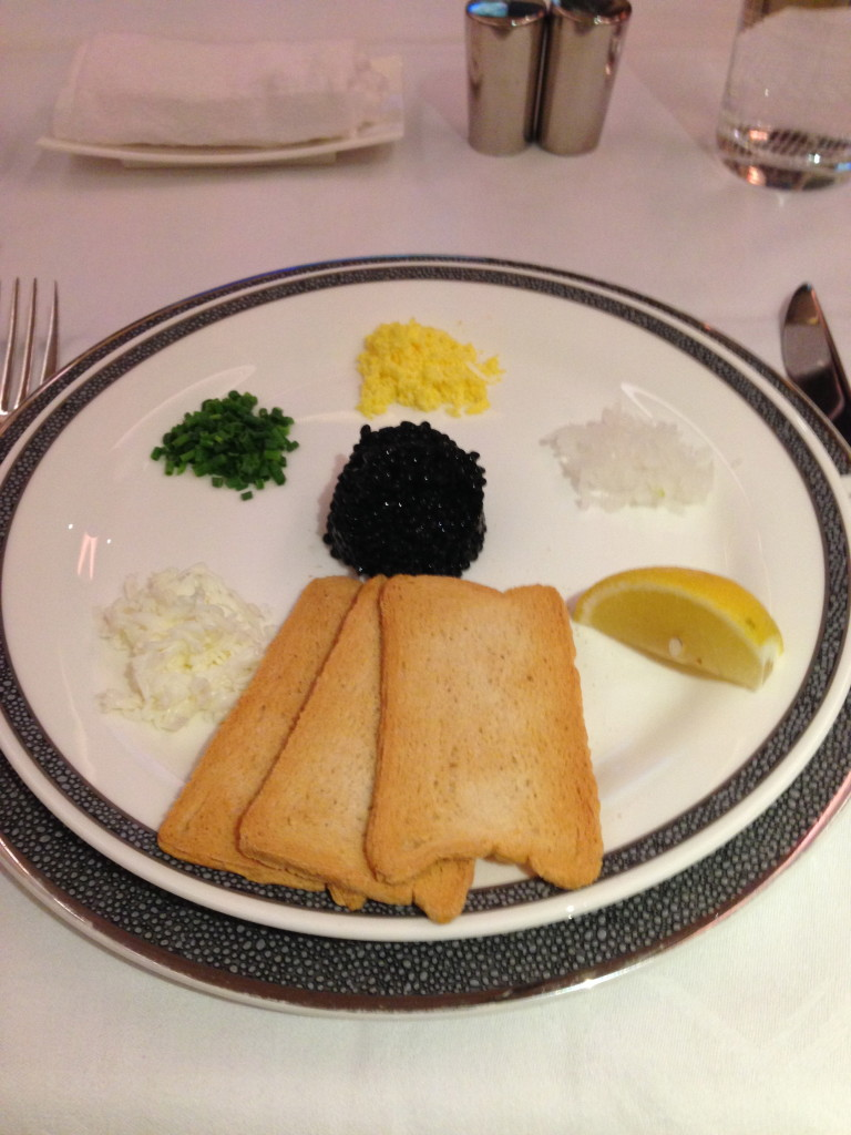 Chilled Malossol Caviar with melba toast and condiments
