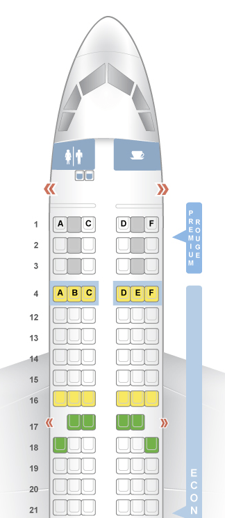 Air Canada Rouge A319 Seatmap from Seatguru