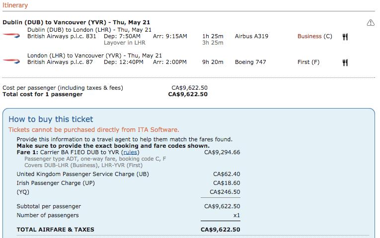 Paid ticket price breakdown DUB - YVR