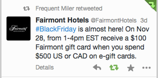 Fairmont Gift Card Promo