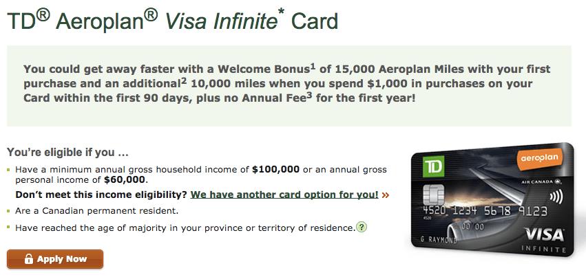 TD Aeroplan Visa Infinite Promotion