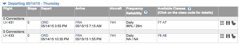 ExpertFlyer Flight Availability Chicago to Frankfurt