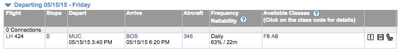 ExpertFlyer MUC-BOS Flight Availability