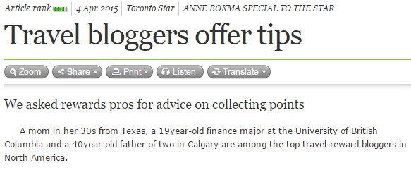 Toronto Star - Travel Bloggers Offer Tips