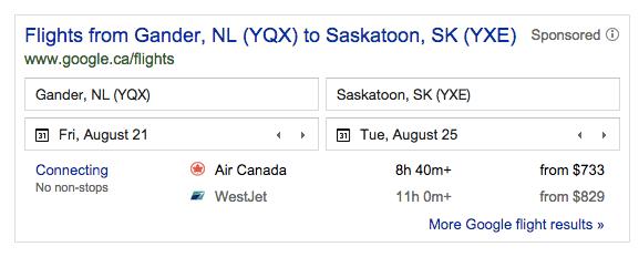 Flights from Gander to Saskatoon