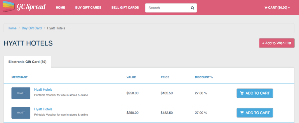 Hyatt Gift Cards at a 27% discount!