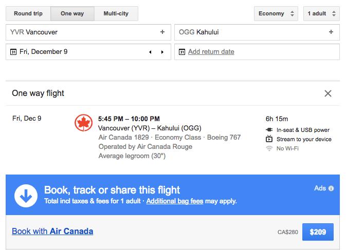 Vancouver to Maui
