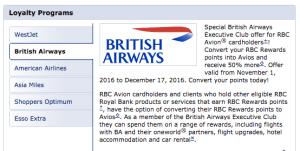 RBC Avion Transfer Bonus (50% Avios)