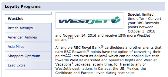 RBC Avion Transfer Bonus (15% Westjet Rewards)
