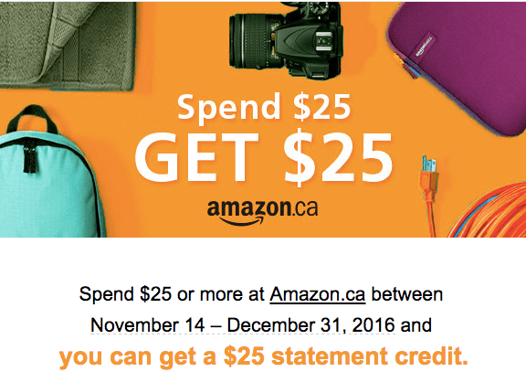 Amex Offers Canada - $25 from Amazon