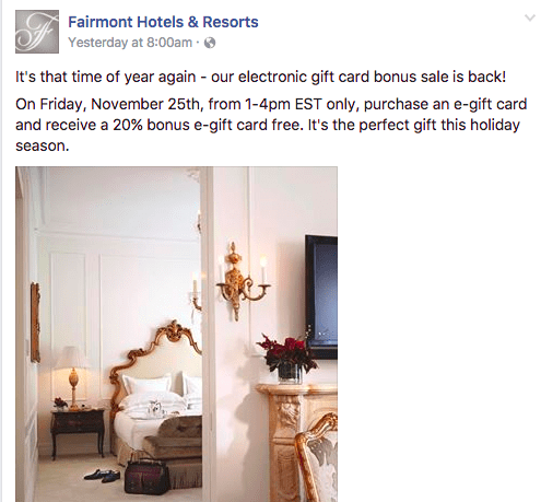 Fairmont Gift Cards 20% Bonus Promotion