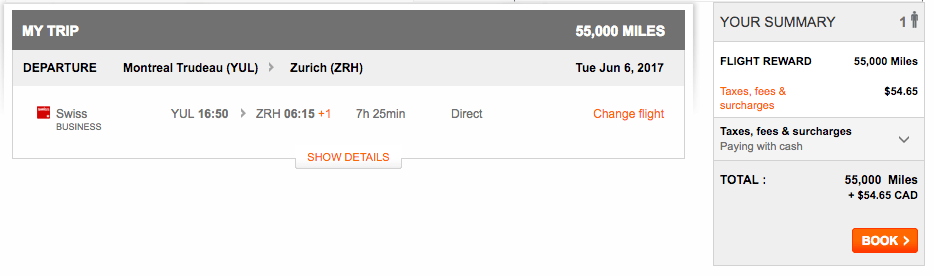 Swiss Airlines Availability with Aeroplan
