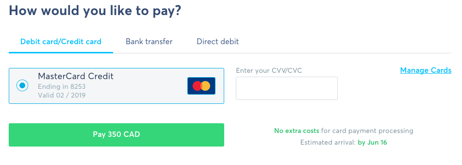 Using a Credit Card for Transferwise