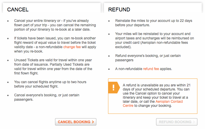 Aeroplan Change Fees - Within 21 Days