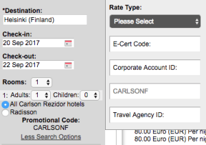 Radisson Friends and Family - Code CARLSONF