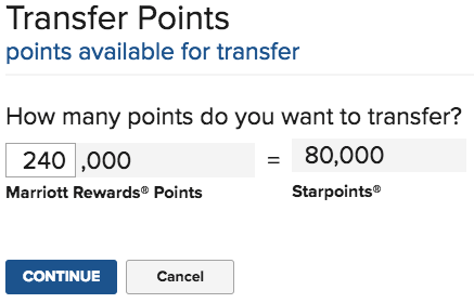 Transfer SPG to Marriott