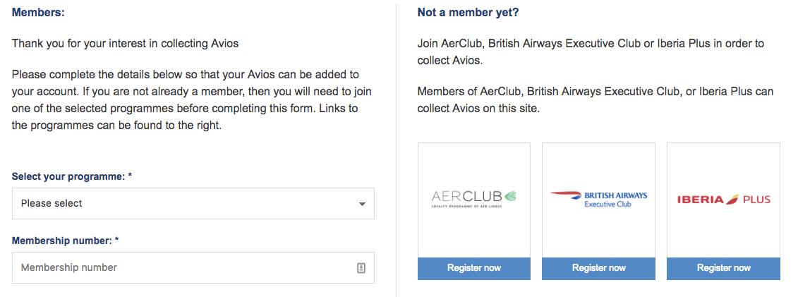 Buy Avios - Depositing