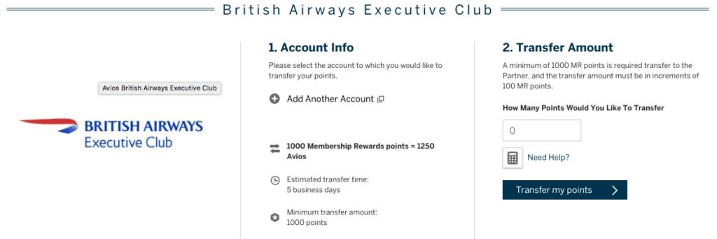 BA 25% Avios Transfer Bonus