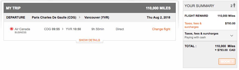 Air Canada Paris - Vancouver Business Class Award