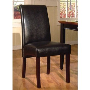 Parsons Leather Dining Chair - Black