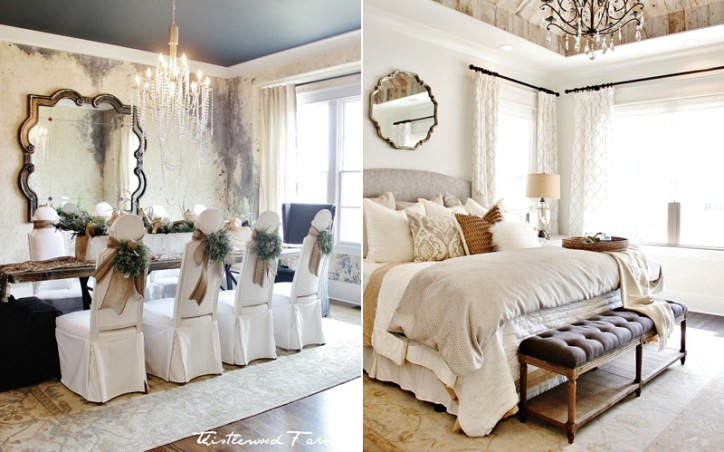 Farmhouse Style Bedroom and Dining Room with Wall Mirrors and Luxurious Home Accessories