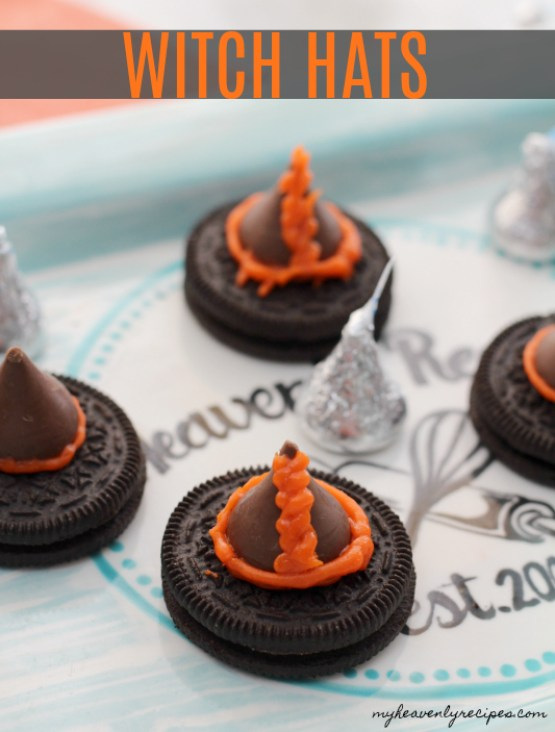 No Bake Cookie Witch Hats from 30 Halloween Food & Treats Kids Will LOVE