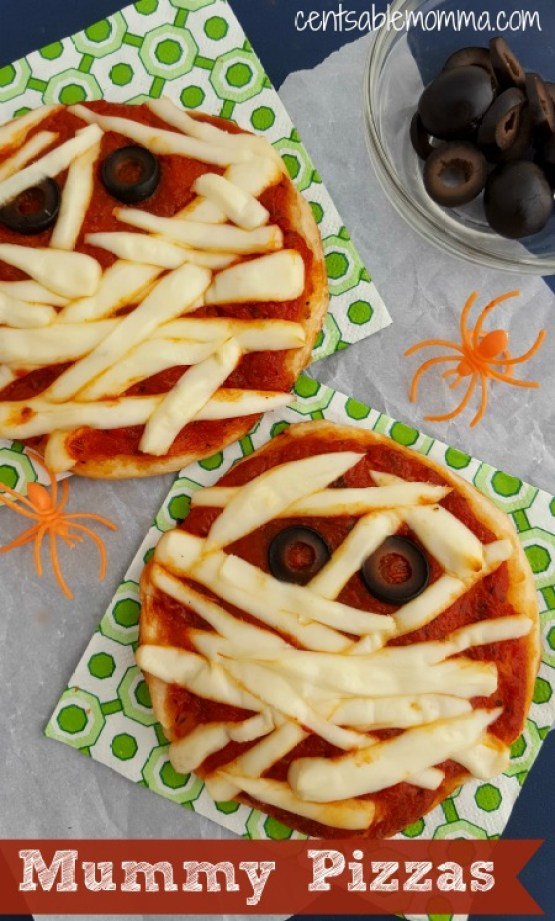Mummy Pizzas from 30 Halloween Food & Treats Kids Will LOVE