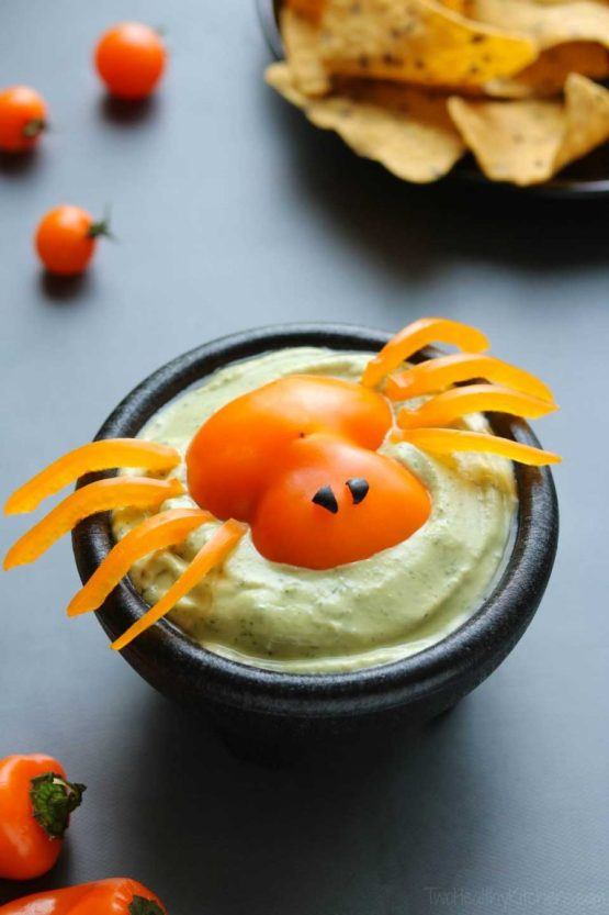 Spooky Spider Appetizer Dip from 30 Halloween Food & Treats Kids Will LOVE