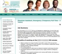 Physician Assistant job in a Hospital HR website