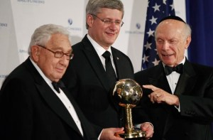 "Harper receives ""world's greatest statesman"" award from CFR members Henry Kissinger and Rabbi Schneider"