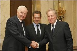 PAUL DESMARAIS SR. (LEFT), NICOLAS SARKOZY (CENTRE), AND QUEBEC PREMIER JEAN CHAREST (RIGHT)