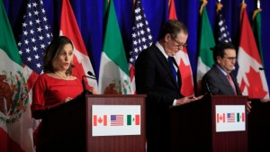 Chrystia Freeland (left) accompanied by US and Mexican Trade reps at NAFTA talks
