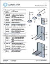 WaterSaver parts list for recessed units