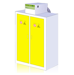 Chemtrapfiltration for chemical storage cabinets