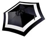 canvas patio market umbrella black and white stripe 9 ft
