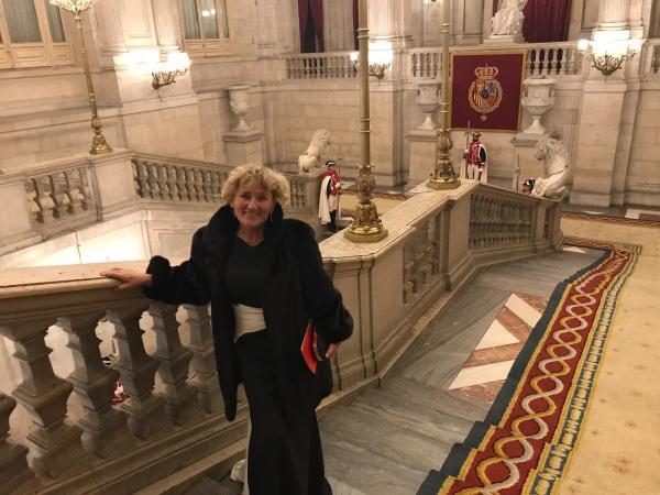 Alicia Relinque en la ceremonia de recepción del mandatario chino enen el Palacio Real de Madrid