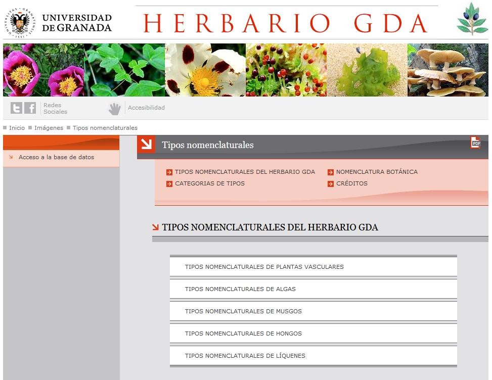Página Web del Herbario de la Universidad de Granada: acceso a los catálogos de tipos.