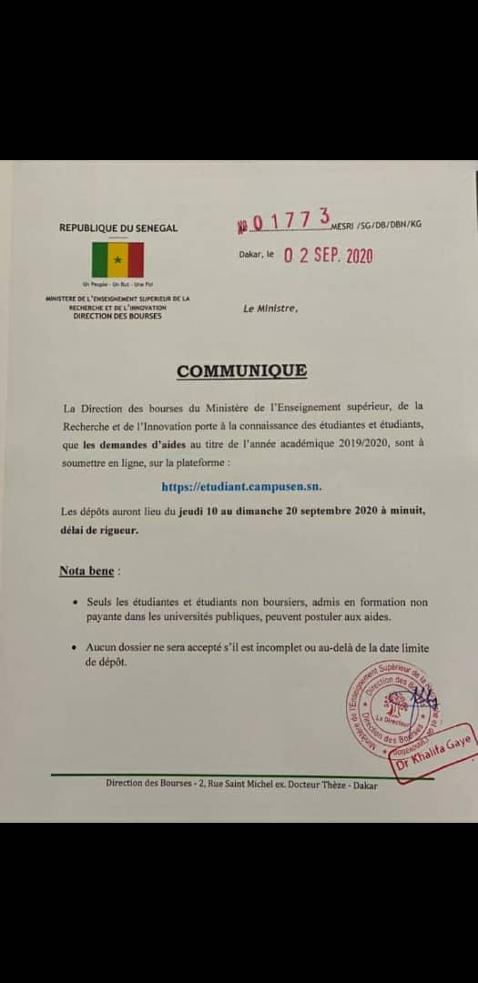 Image communiqué MESRS Sénégal.