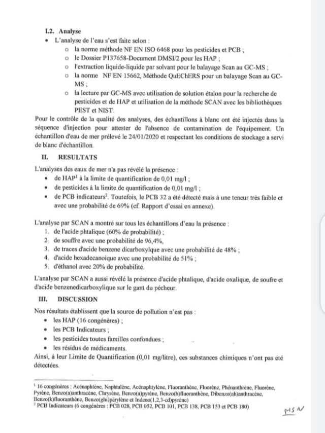 Image des résultats d'analyse sur la Maladie mystérieuse du laboratoire Ceres-Locustox page 2.