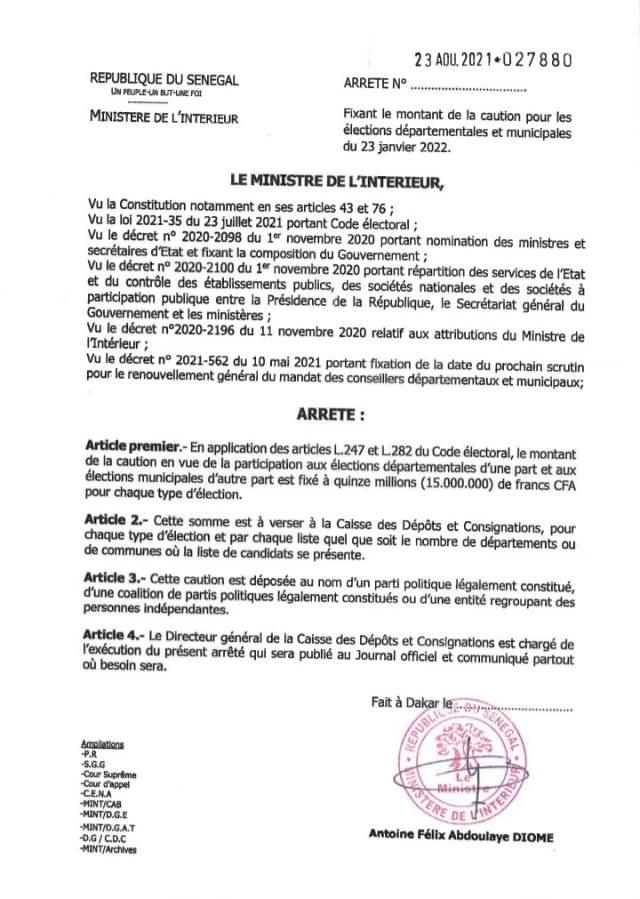 Élections locales 2022 : Antoine Félix Diom fixe le montant de la caution à  15 millions... - Canalactu