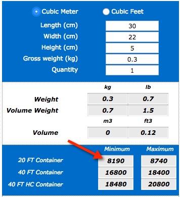 Calculadora unidades en container