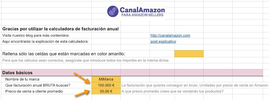 Calculadora productos Amazon - Precio de venta y objetivo facturación - vender productos en Amazon