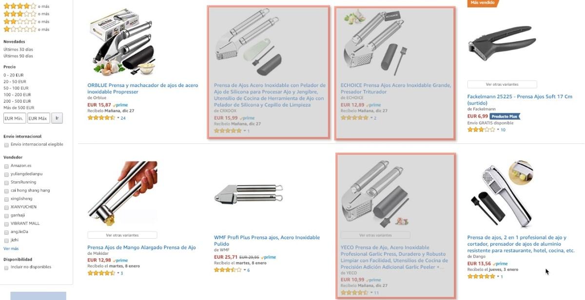 Competencia con productos iguales - Vender productos en Amazon