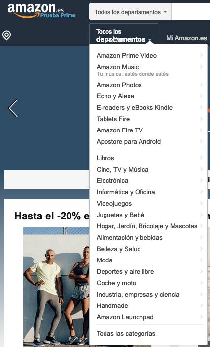 Categorias Amazon España