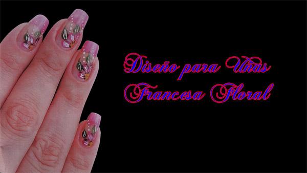 Fotos o Imagenes de Uñas Decoradas, Manicure, Diseño de Uñas Francesa Floral paso a paso 4