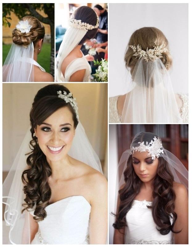 Peinados para novias cabello largo con velo