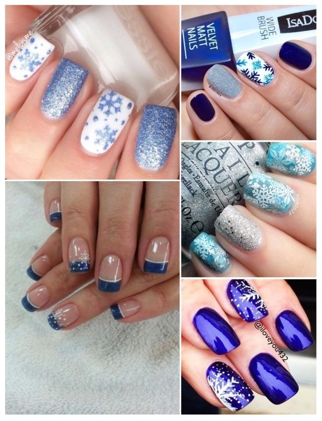 como pintar las uñas con copos de nieve