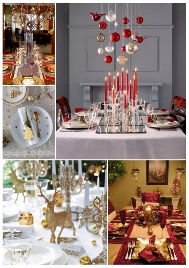 como decorar la mesa para Navidad con dorado