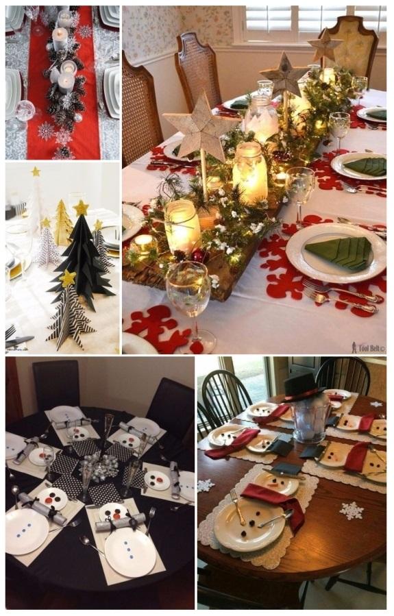 imágenes de como decorar la mesa para Navidad