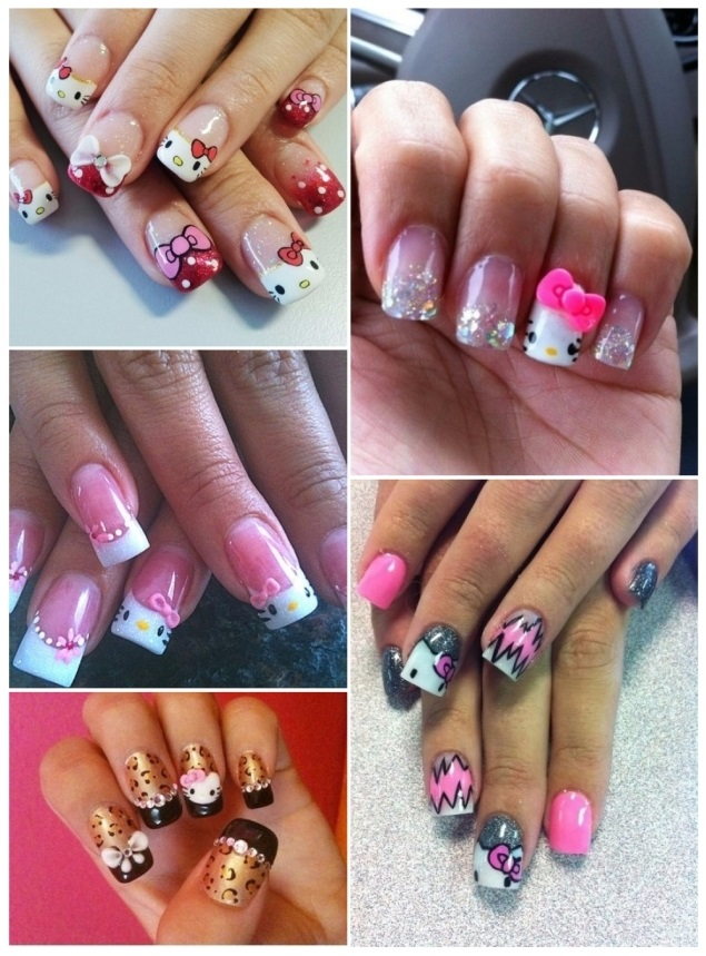 como decorar uñas de hello kitty